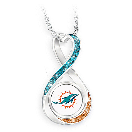 Miami Dolphins Forever Infinity Pendant Necklace