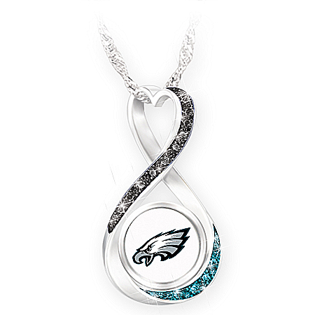 Philadelphia Eagles Infinity Pendant Necklace with 12 Swarovski Crystals