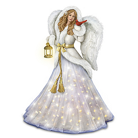 Silent Night Illuminated Musical Angel Sculpture