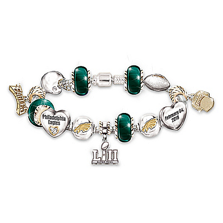 Go Philadelphia Eagles! #1 Fan Super Bowl Women's NFL Charm Bracelet