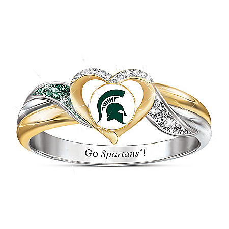 Michigan State Spartans Women's Sterling Silver Pride Ring by The Bradford Exchange Online - Lovely Exchange