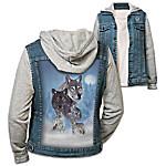 Wild Spirit Women's Denim Vest Hoodie Featuring Eddie LePage Wolf Art