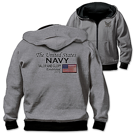 Reversible Military U.S. Navy Men's Front Zip Hoodie