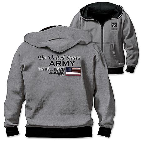 Reversible Military U.S. Army Men's Front Zip Hoodie