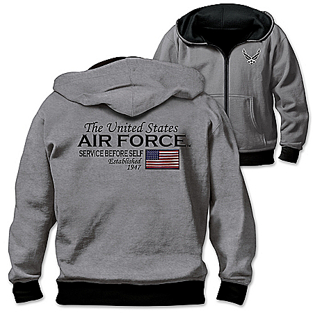 Reversible Military U.S. Air Force Men's Front Zip Hoodie