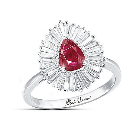 "Alfred Durante ""Elegant Beauty"" Ruby And White Topaz Ring"