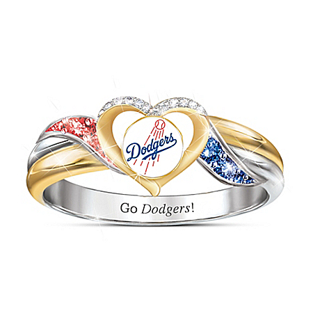 Los Angeles Dodgers MLB Women's Sterling Silver Pride Ring
