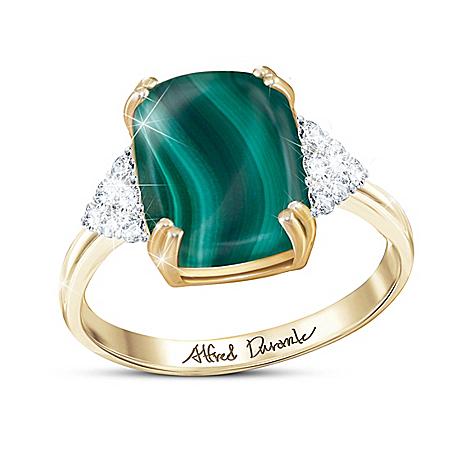 Alfred Durante Majestic Malachite Gemstone And Diamond Women's Ring