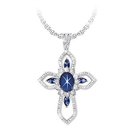 Light Of Grace   Created Sapphire And White Topaz Necklace