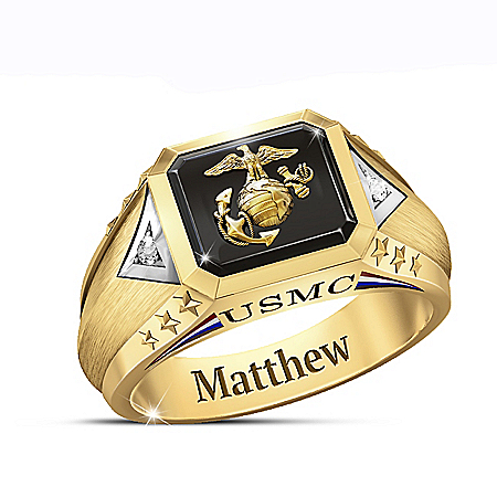 Salute To The USMC Men's Personalized 18K Gold-Plated Diamond Ring Featuring Patriotic Symbols In Sculpted Detail – Personalized