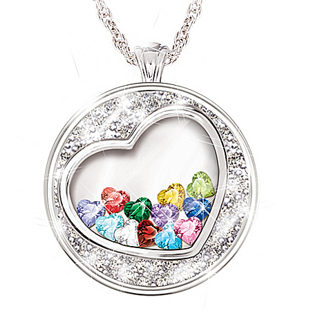 A Grandma's Heart Is Full Of Love Personalized Heart-Shaped Birthstone Pendant Necklace – Personalized Jewelry