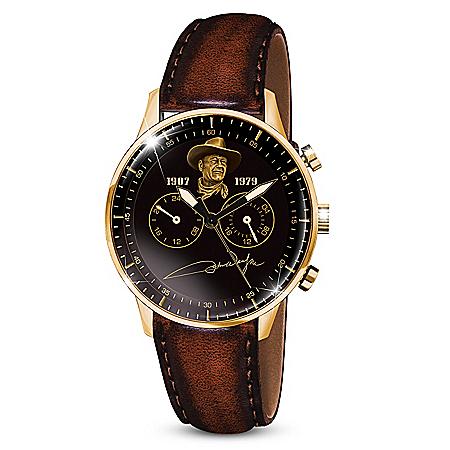 John Wayne Leather-Stitched Chronograph Quartz Men's Watch