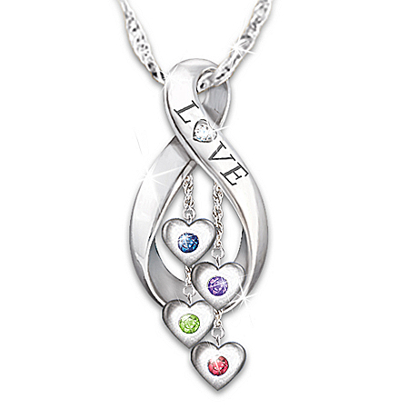 Photo of Infinite Love Women's Personalized Family Birthstone & Diamond Pendant Necklace by The Bradford Exchange Online