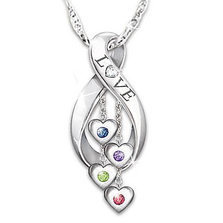 Infinite Love Women's Personalized Family Birthstone & Diamond Pendant Necklace – Personalized Jewelry