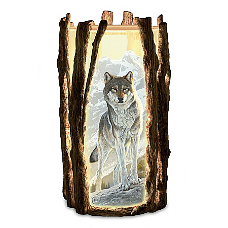 Al Agnew Noble Vision Fully Sculpted Wolf Art Candleholder