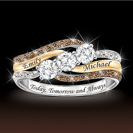 Today And Always Women's Personalized Diamond & Topaz Ring – Personalized Jewelry