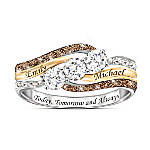 Today And Always Women's Personalized Diamond & Topaz Ring
