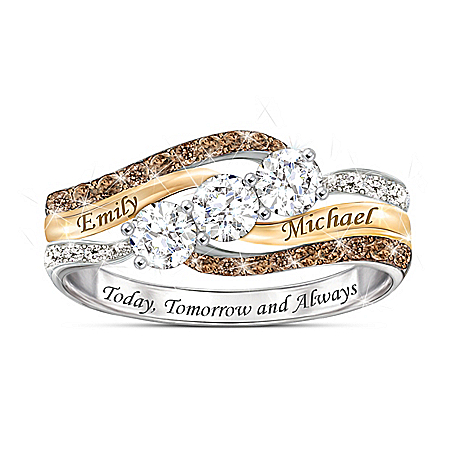 Photo of Today And Always Women's Personalized Diamond & Topaz Ring by The Bradford Exchange Online