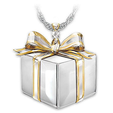 Daughter Of My Heart Women's Gift Box-Shaped Diamond Pendant Necklace