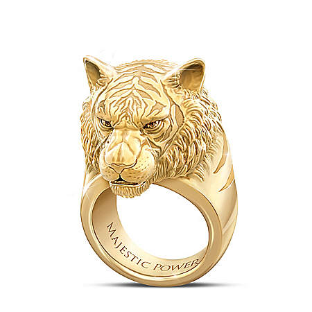 Majestic Power Men's Tiger Ring With Genuine Sapphires