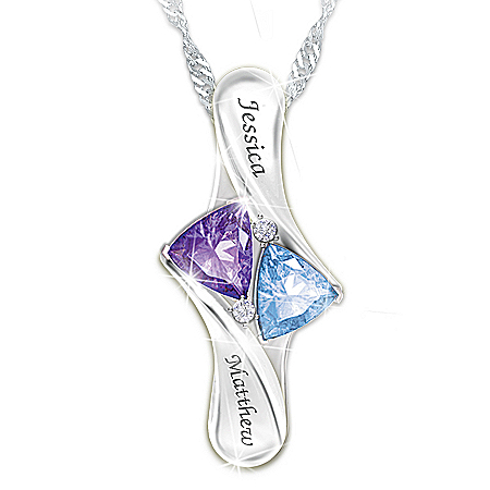 Love's Promise Women's Personalized Birthstone Sterling Silver Pendant Necklace – Personalized Jewelry