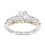 Family Is Forever Women's White Topaz & Birthstone Personalized Ring