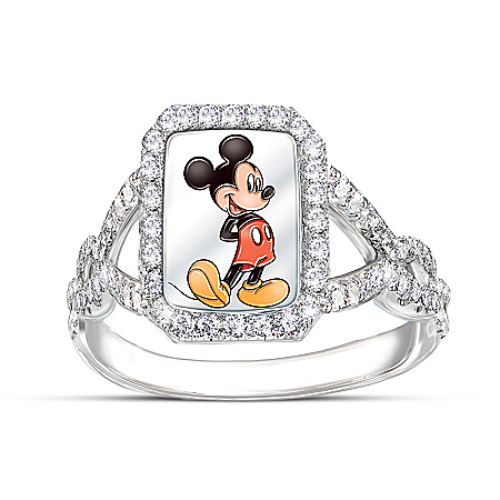 Disney On With The Show Mickey Mouse Diamonesk Ring