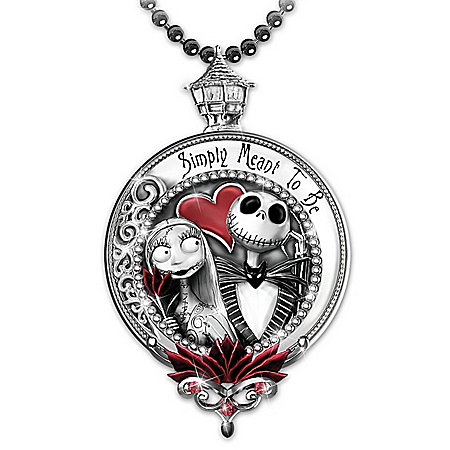 Jack And Sally Engraved Pendant Necklace