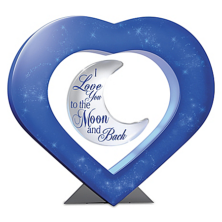 I Love You To The Moon And Back Illuminated Levitating Crescent Moon Sculpture