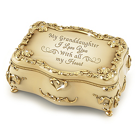 Granddaughter, I Love You 22K Gold-Plated Heirloom Porcelain Music Box