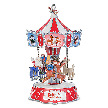 Rudolph The Red-Nosed Reindeer Hand-Painted Carousel Music Box