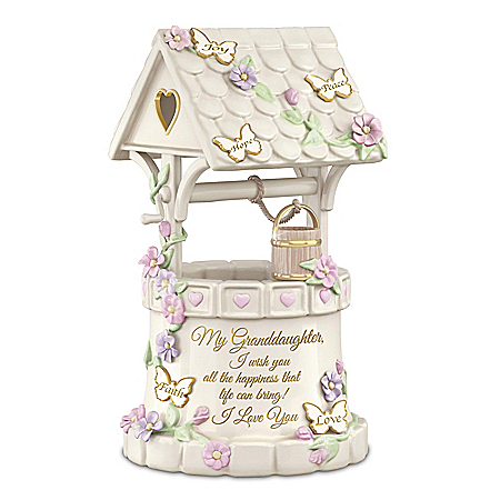 Granddaughter Heirloom Porcelain Wishing Well Music Box with Poem Card