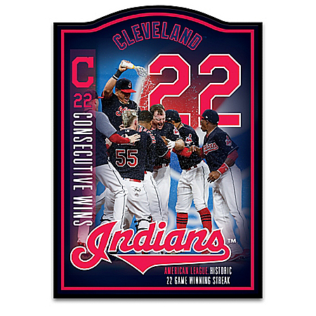 Cleveland Indians 22 Historic Wins Commemorative MLB Wall Decor