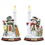 Thomas Kinkade All Is Bright Illuminated Snowman Candleholder Set