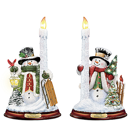 Thomas Kinkade All Is Bright Illuminated Snowman Candleholder Set