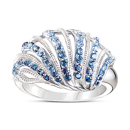 Coastal Treasure Women's Ombre Shell-Shaped Diamonesk Ring