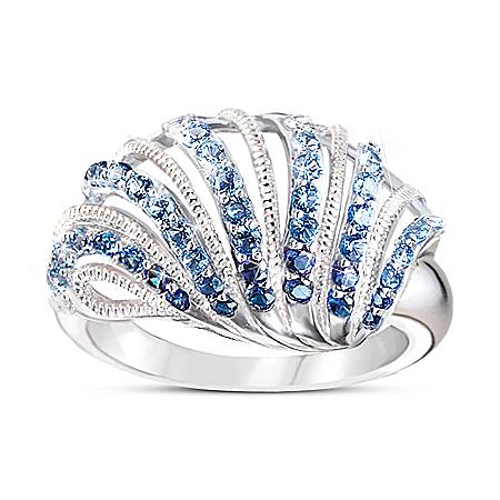 Coastal Treasure Women's Ombre Shell-Shaped Diamonesk Ring