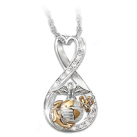 I Love My Marine Women's Infinity-Shaped Pendant Necklace