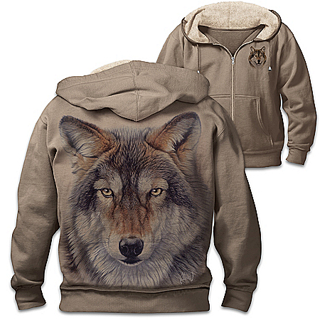 Al Agnew Wild Wolf Men's Cotton-Blend Knit Hoodie