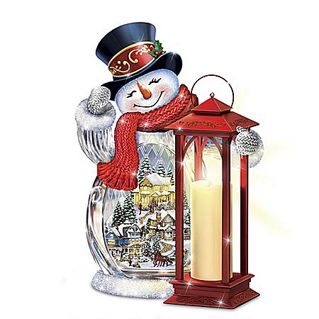 Thomas Kinkade Holiday Greetings Illuminated Crystal Snowman Sculpture