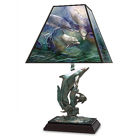 Carol Cavalaris Deep Sea Paradise Dolphin Stained Glass Lamp