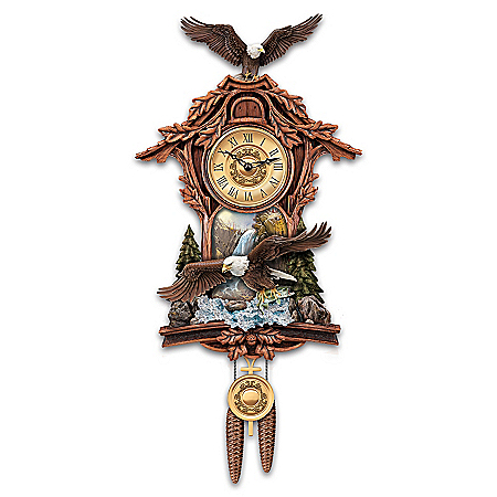 Moments Of Majesty Bald Eagle Handcrafted Cuckoo Clock