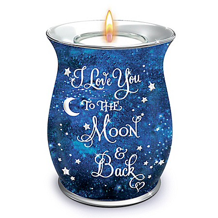 I Love You To The Moon And Back Porcelain Candleholder With Scented Candle