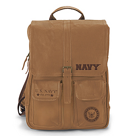 Armed Forces U.S. Navy Genuine Leather Backpack With Embossed Emblem