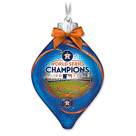 MLB Astros 2017 World Series Champions Glass Christmas Ornament Lights Up