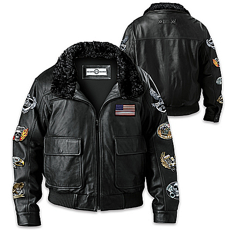 Ride Hard Live Free Men's Leather Bomber Jacket With 8 Patches