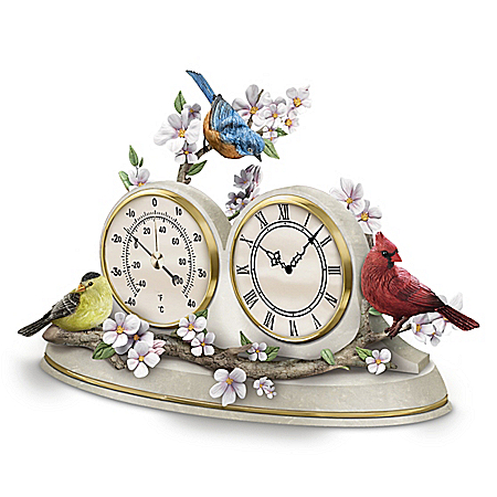Songbird Desktop Clock and Weather Barometer with 3 Sculptural Songbirds