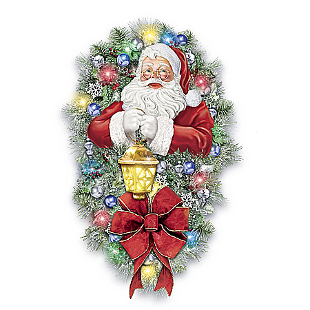 Thomas Kinkade A Most Enchanted Christmas Illuminated Santa Wreath