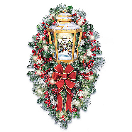 Thomas Kinkade Always In Bloom Illuminated Lantern Wreath