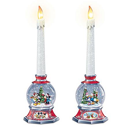 Disney Illuminated Holiday Snowglobes With Flameless Candles